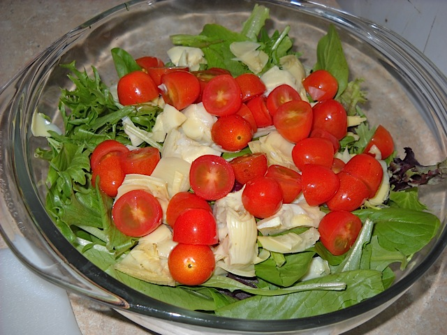 combine veggies