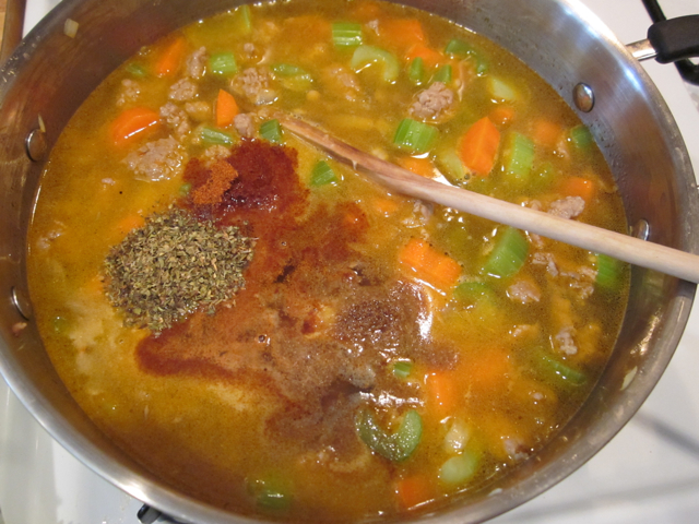 broth and seasoning