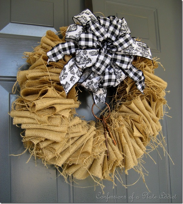 Confessions of a plate addict my winter porch a burlap for Burlap ribbon craft ideas