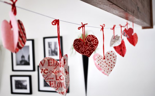Handmade Heart Garland for Valentines Day Decor