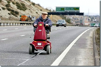 Pensioner On Motorway