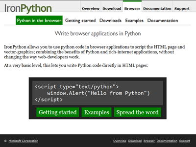 IronPython: Python in the Browser