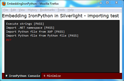 Embedding IronPython in Silverlight - Importing test