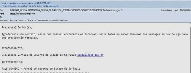 Imagem da resposta automática do Governo do Estado de São Paulo