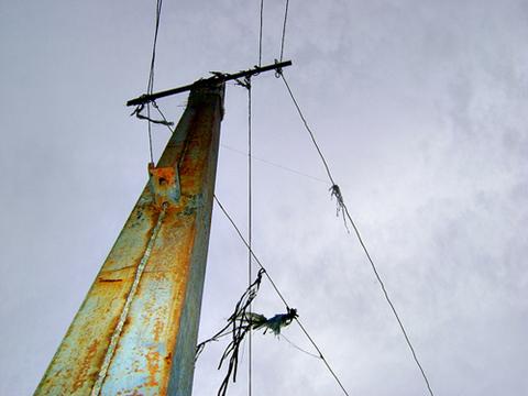 Sem energia elétrica na comunidade, postes improvisados se proliferam para levar luz ao Sítio Joaninha.  Foto: Flaviana Serafim
