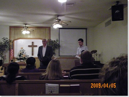 Don making the presentation of the check from Sunscape Christian Fellowship