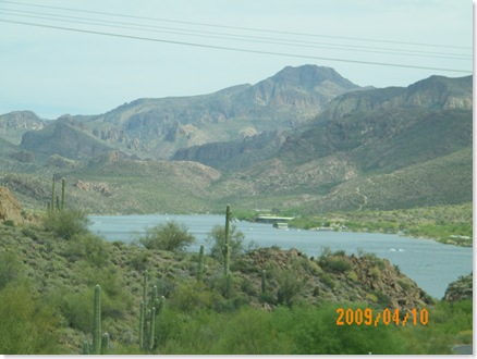 Canyon Lake through the truck windshield from Apache Trail