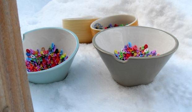 skåle til afkøling i sneen