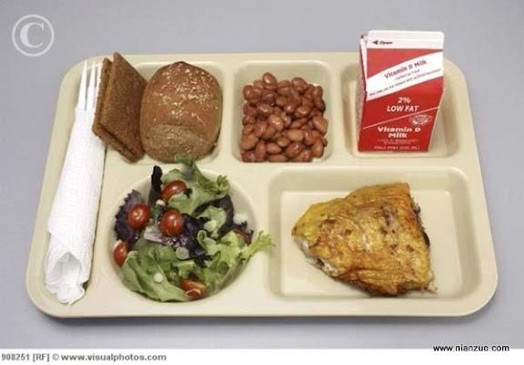 世界各国的校餐 美国:鸡肉、豆子、牛奶和油炸食品