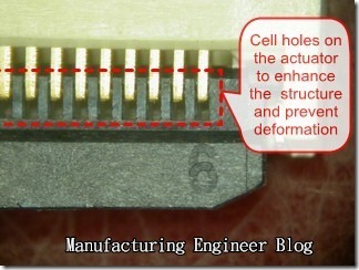Making multi-cell holes on the actuator of right angle connector to enhance its structure and prevent the deforamtion.