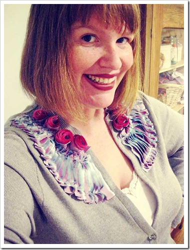My upcycled, hot glue, anthropolgie-esque, rose garden cardi…