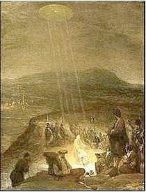 """Lukisan yang berjudul """"The Baptism of Christ"""" ini dibuat pada tahun 1710 oleh Aert De Gelder. dalam lukisan tersebut tampak sebuah benda langit, bercahaya turut menyaksikan pembaptisan Kristus,yang tak lain adalah UFO sebagaimana yang kita ketahui kemudian."""