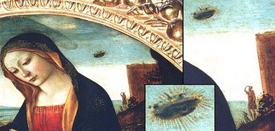 "lukisan ini berjudul ""The Madonna with Saint Giovannino"" dibuat sekitar abada ke-15 oleh Domenico Ghirlandaio. Dalam lukisan tersebut, Marry Ibunda Yesus sedang menatap ke bawah bersama gambar benda terbang (UFO) dalam backgroundnya."