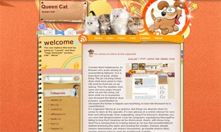 Blogger Template Queen Cat