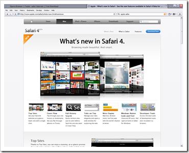 Safari 4 Beta on Windows XP