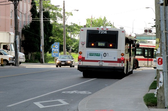 Toronto TTC bus blocking bike lane