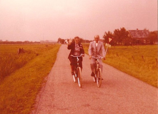 Oma and Opa on bicycles in the Netherlands - 1970's