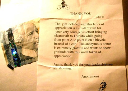 Anonymous thank you letter for bicyclists in Toronto