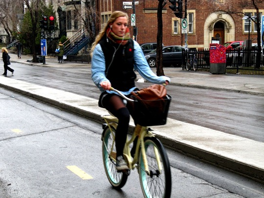 Montreal bicyclist in bike lane