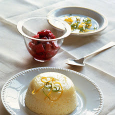 Citrus Sponge Pudding with Rhubarb Sauce