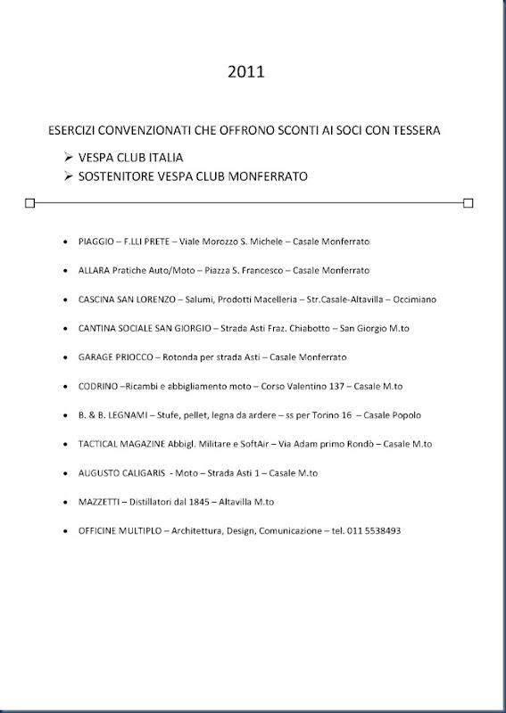 Esercizi convenzionati 2011