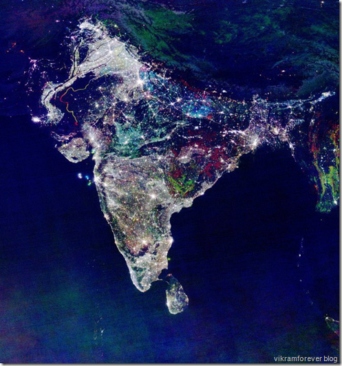 Satellite image of India on Diwali Night