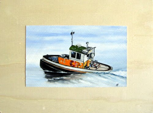 oil tugboat painting