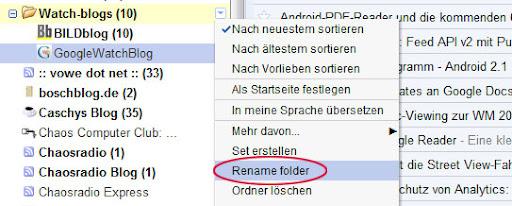 Google Reader: Ordner umbenennen