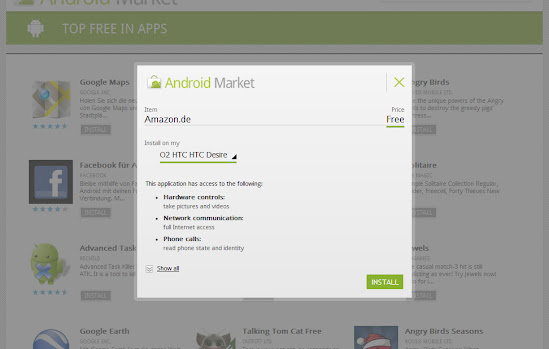 Installationsroutine im Web Market Android