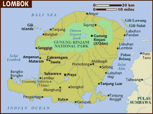 خريطة جزيرة لومبوك اندونيسيا