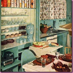 50s kitchen blue