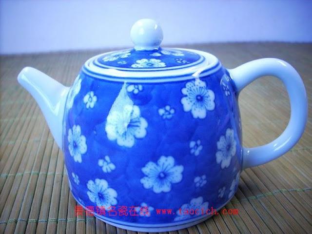 永春陈永春手绘仿古青花图案梅青茶壶