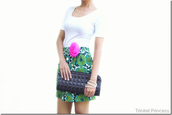 pink flower pin patent clutch bag leather bracelet