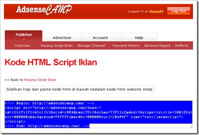 kode html script iklan