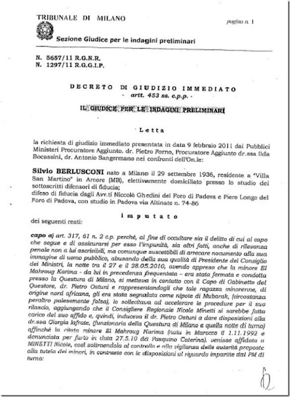Verbale - decreto giudizio immediato Berlusconi