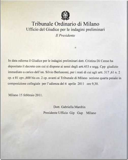 rinvio a giudizio Berlusconi