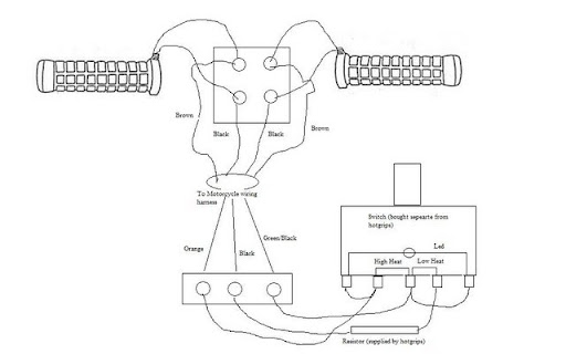 Heated Grips: Heated Grips Wiring Diagram on harley chopper wiring harness, harley sportster wiring harness, harley wiring diagram for dummies, harley davidson speaker wiring, harley wiring harness kits, columbia wiring harness, harley davidson stator wiring, cobra wiring harness, harley davidson stereo wiring diagram, mitsubishi wiring harness, harley davidson wiring color code, mercury wiring harness, harley softail wiring harness, royal enfield wiring harness, harley davidson trailer wiring diagram, harley davidson wiring connectors, motorcycle wiring harness, harley wiring harness diagram, harley shovelhead wiring harness, piaggio wiring harness,