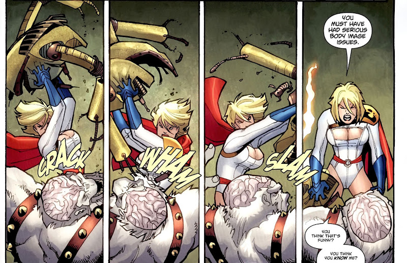 Power Girl hits Ultra Humanite repeatedly