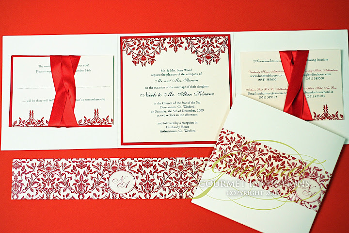 Nicole Alan Christmas Damask Wedding Invitations Gourmet