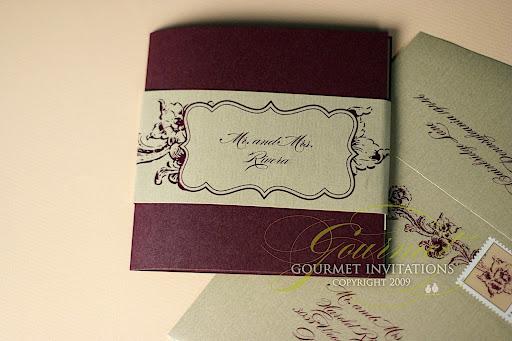 Jennifer Matthew Purple and Gold Flower Wedding Invitations
