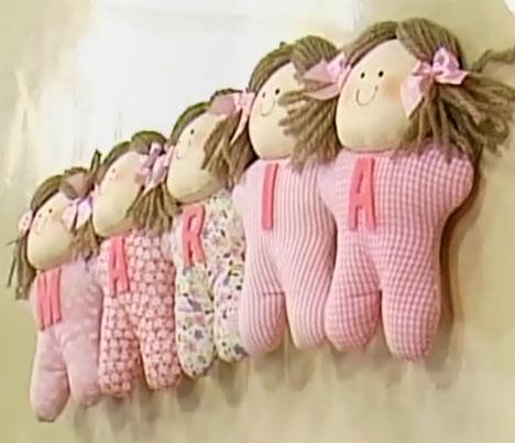 bonecas de tecido com molde