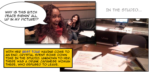 Crystal Kay in the studio [photos courtesy of Crystal Kay's official blog @ http://blog.oricon.co.jp/c-kay/]