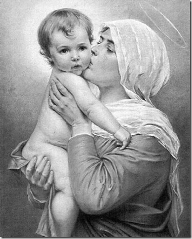 MAMÁ MARÍA LE DA UN BESO A SU NIÑO JESÚS