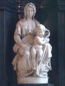 Madonna con niño de Miguel Angel, Brujas