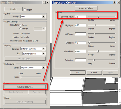 Hok bim solutions rendering soft shadows in revit 2009 2010 - Revit exterior rendering settings ...