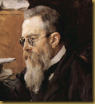 Portrait of Nikolai Rimsky-Korsakov in 1898 by Valentin Serov (detail)