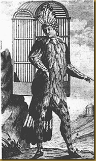 Emanuel Schikaneder, librettist of Die Zauberflöte, shown performing in the role of Papageno. The object on his back is a birdcage
