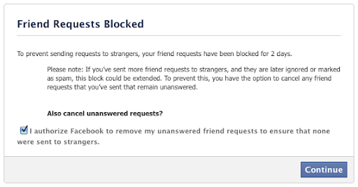 To prevent sending friend requests to strangers, your friend requests have been blocked for 2 days