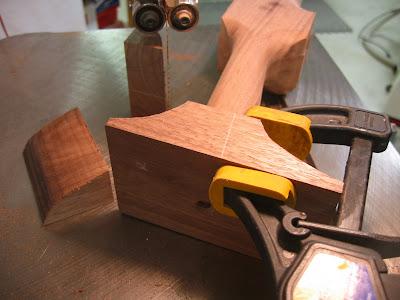 band sawing front leg transition blocks