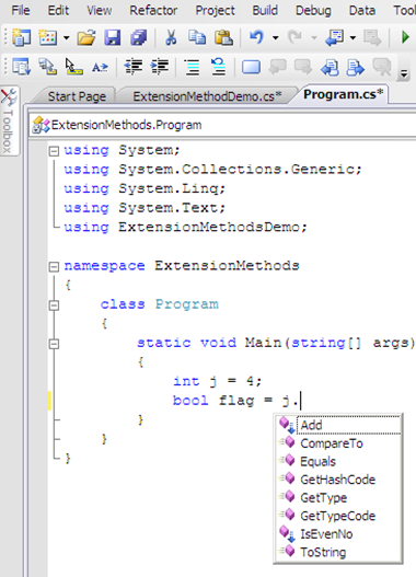 VS intellisense showing the extension method.